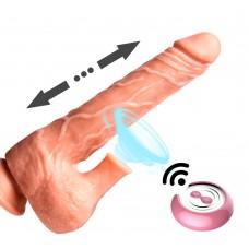 Pênis com escroto e sucção na parte superior do escroto, recarregável, com movimento de vai e volta no corpo do pênis - PE091