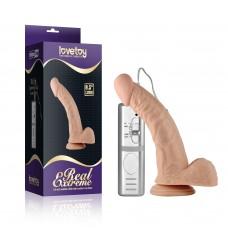 Pênis Curvado com Ventosa com 3 Vibrações, Veias e Escroto - LOVETOY REAL EXTREME - PE033